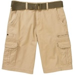 Big Men's Belted Twill Cargo Shorts