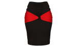 PRNCX+JEWELRIES+Bodycon+Skirt+With+Mid+Bow+Black+And+Red