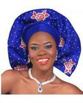 Opeke Royal Peated Gele With Red Crystals Blue