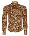 Liva Girl Animal Print Long Sleeve Chiffon Shirt - Brown