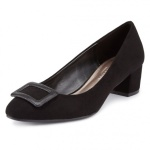 Marks+%26+Spencer+Ladies+Dark+Grey+Suede+Wide+Fit+Block+Heel+Court+Shoes+With+Insolia