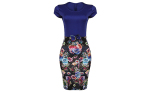 PRNCX+JEWELRIES+Bodycon+Dress+With+Waist+Bow+Blue