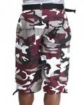Belted Cotton Camo Cargo Shorts